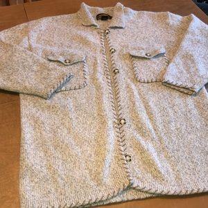 VTG Tan & Gray Wool Blend Cardigan Sweater READ